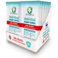 180 PCS (12 X 15 PK) GREEN SHIELD ANTI VIRAL HANDY WIPES ANTIBACTERIAL