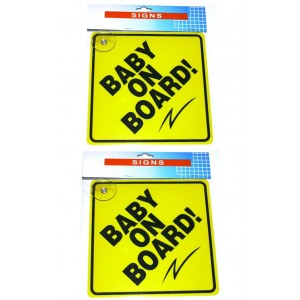 2 PCS BABY ON BOARD CAR SIGNS VEHICLE CHILD SAFETY