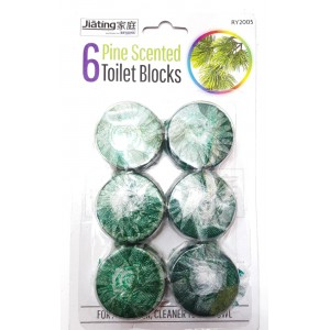 6 PCS GREEN LOO TOILET PINE CLEAN BLOCK TABLETS