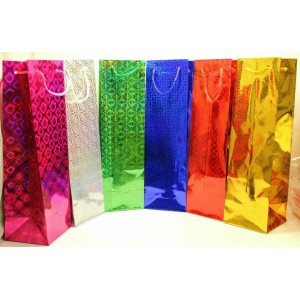 "6 PCS HOLOGRAPHIC 14"" X 4"" WINE BOTTLE GIFT BAGS"
