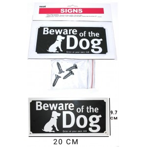 2 PCS BEWARE OF THE DOG RISK SIGNS HOME BUILDING