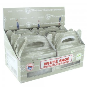 144 PCS (24 X 6 BOXES) SATYA WHITE SAGE DHOOP CONES INCENSE