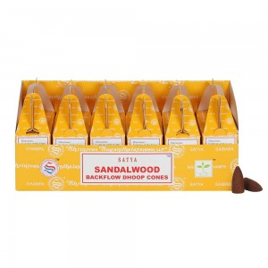 144 PCS (24 X 6 BOXES) SATYA SANDALWOOD DHOOP CONES INCENSE