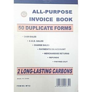 "LARGE ALL PURPOSE SALES DUPLICATE INVOICE BOOK 7"""