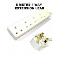 2 PCS 5 M EXTENSION LEAD 4 WAY ELECTRICAL CABLE 13A