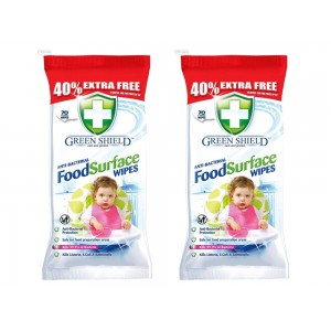 2 PACKS OF 70 LARGE ANTI BACTERIAL FOOD SURFACE CLEANING WIPES