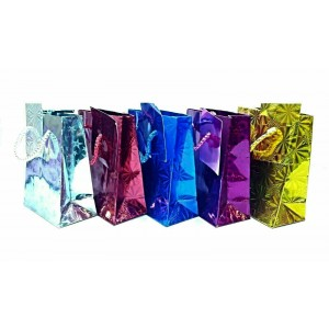 "12 PCS ASSORTED GIFT BAGS 7""X8"" HOLOGRAPHIC SHINE"