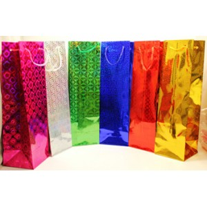 "12 PCS HOLOGRAPHIC 14"" x 4"" BOTTLE GIFT BAGS"