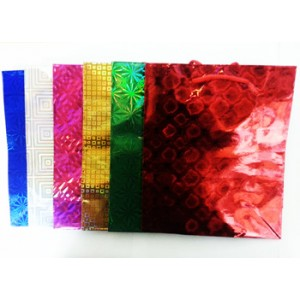 "6 PCS HOLOGRAPHIC 4"" INCH X 6"" INCH EXTRA SMALL GIFT BAG WITH CARRY STRINGS"