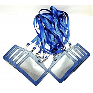10 PCS BLUE ID LANYARD STRAP BADGE CARD HOLDER