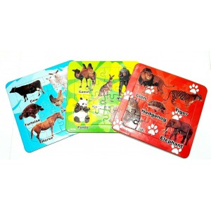 3 PCS KIDS JIGSAW PUZZLES ANIMALS EARLY LEARNING