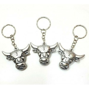 3 PCS ANTIQUE SILVER BULL KEY RING CHAIN ACCESSORY