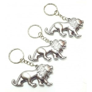 3 PCS KEY RING ANTIQUE SILVER LIONS CHARM CHAIN