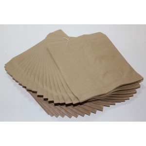"10 KRAFT PAPER BAGS STRUNG 10"" X 10"" IDEAL FOOD NON FOOD ITEMS SHOPS OR HOME"