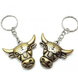 2 PCS KEY RING ANTIQUE BRONZE BULL CHARM CHAIN