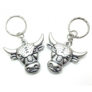 2 PCS ANTIQUE SILVER BULL KEY RING CHAIN ACCESSORY