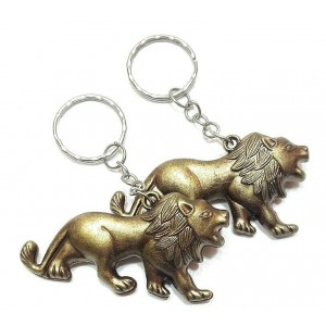 2 PCS LION KEY RING CHAIN ANTIQUE BRONZE CHARM