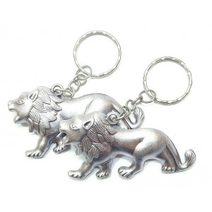 2 PCS KEY RING ANTIQUE SILVER LIONS CHARM CHAIN
