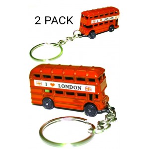 2 PC RED LONDON BUS GIFT KEYRING SOUVENIR NOVELTY
