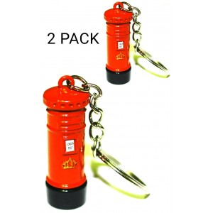 2 PCS LONDON POST BOX KEYRING RED SOUVENIR GB