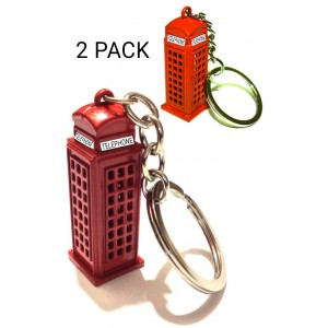 2 PCS LONDON TELEPHONE BOOTH KEYRINGS CHAIN GB