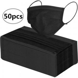 50 PCS BLACK DISPOSABLE FACE MASK 3 LAYER PPE