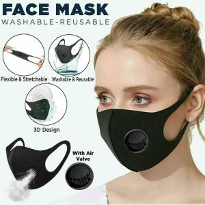 5 PCS BLACK WASHABLE FACE MASK WITH AIR VALVE REUSABLE PPE