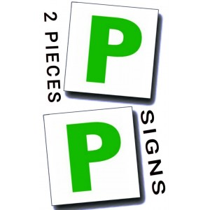 2 PC NEW DRIVER CAR SIGNS P MAGNETIC EXTERIOR PLATE