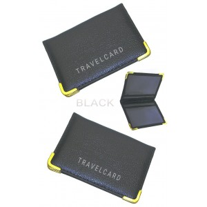 2 PCS BLACK OYSTER COVER TRAVEL BUS CARD HOLDER