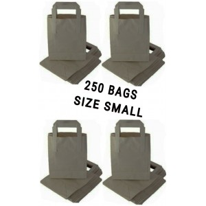 250X SMALL BROWN PAPER CARRIER BAGS WITH HANDLE