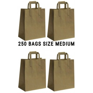 250 BROWN PAPER CARRIER HANDLE BAGS MEDIUM
