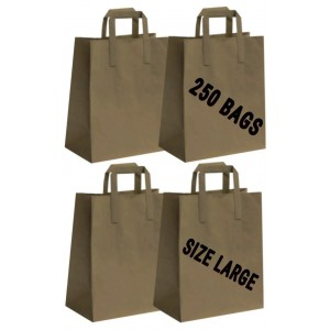 250 BROWN PAPER CARRIER HANDLE BAGS LARGE