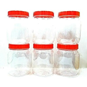 6 PCS RED LID PLASTIC PET JARS 100 ML FOOD STORAGE
