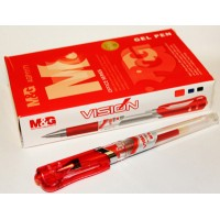 12 HIGH QUALITY RED INK VISION GEL PENS 0.7MM TIP RUBBER GRIP M&G
