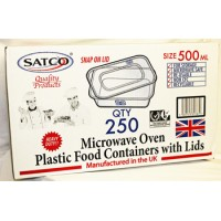 50 PCS OF SATCO MICROWAVE PLASTIC CONTAINERS 500ML WITH SNAP ON LIDS