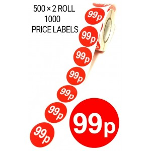 1000X RED 99p PRICE LABEL STICKER SELF ADHESIVE TAGS
