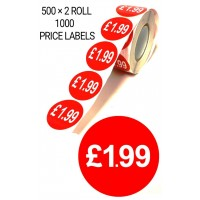 1000X RED £1.99 PRICE LABEL TAGS SELF ADHESIVE STICKER