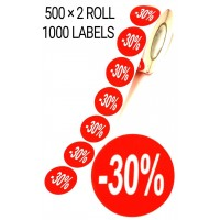 1000 X RED 30% OFF LABEL SELF ADHESIVE STICKER TAG