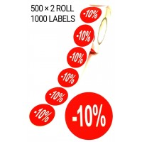 1000 X RED 10% OFF LABEL SELF ADHESIVE STICKER TAG