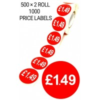 1000X RED £1.49 PRICE LABEL TAGS SELF ADHESIVE STICKER