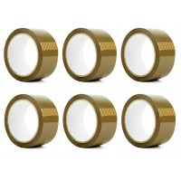 6 ROLLS PACK BROWN BUFF PARCEL PACKING TAPES 66M