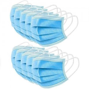 10 PCS BLUE DISPOSABLE FACE COVER MASK 3-PLY PPE
