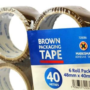 6 PACK 48 MM X 40 METERS BUFF BROWN TAPE FLATPACK
