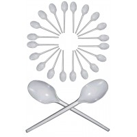 100 PCS WHITE DISPOSABLE PLASTIC SPOONS WHITE